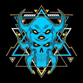 Blue monster head with sacred geometry for commercial use