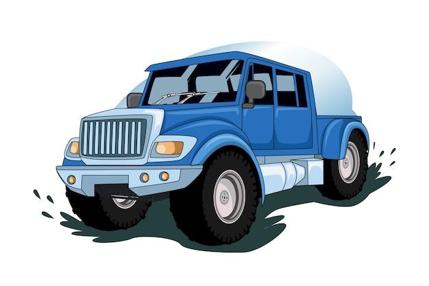 青いモンスタートラック車イラストベクトル