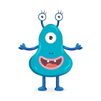 A blue monster with three eyes. cute cartoon character. vector illustration for children.