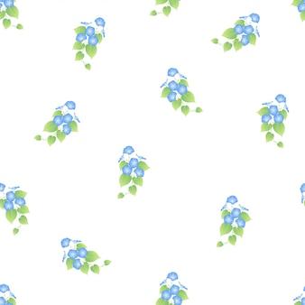 青い朝顔のシームレスパターン