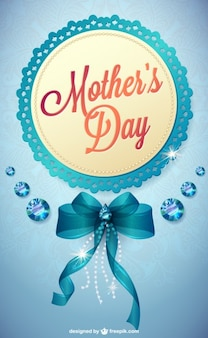 Blue mother's day invitation with ribbon and diamonds