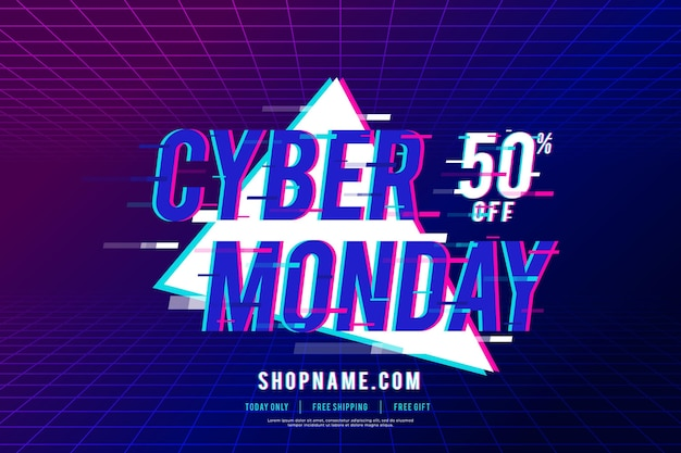 Blue motion glitched cyber monday promo