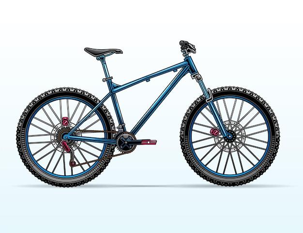 Blue mountain bike illustration