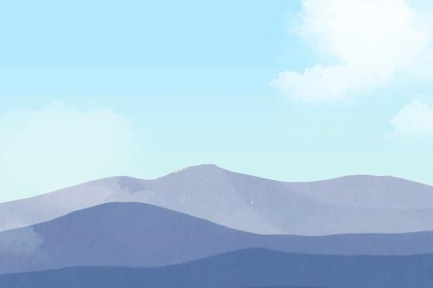 Blue mountain clouds vector, minimal aesthetics