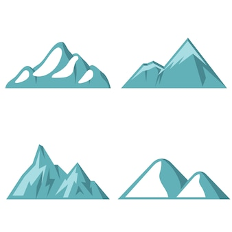 Blue mountain flat icons on white background