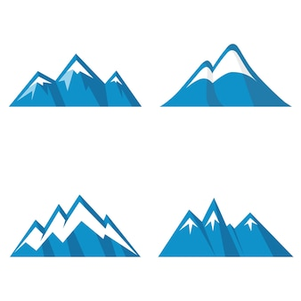 Blue mountain icons on white background