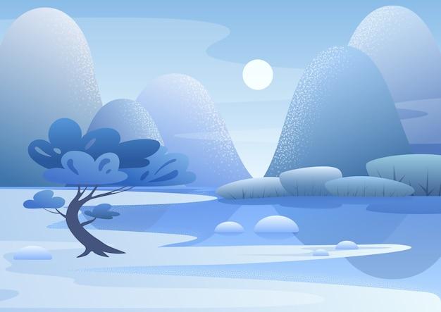 青い山の風景フラット。晴れた日の冬の自然。雪に覆われた川岸の木。美しい景色。季節の背景。森の中の凍った植物。雪のある冬の屋外シーン