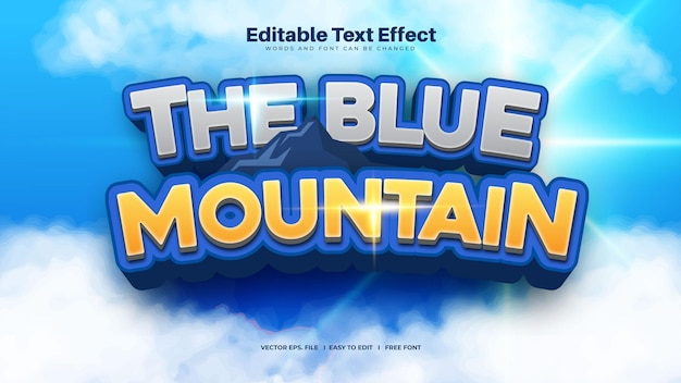 The blue mountain text effect