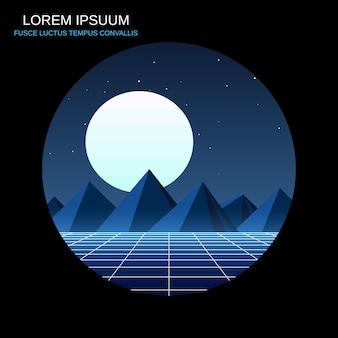 青い山の夜のレトロなスタイルのベクトル図