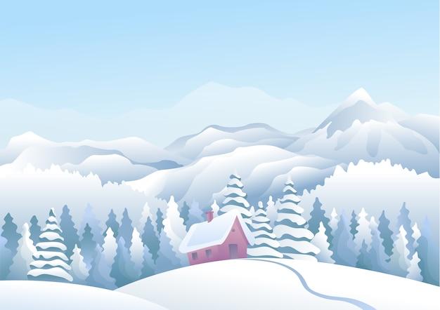 前景に雪の家と松林のある青い山々の冬の雪の風景