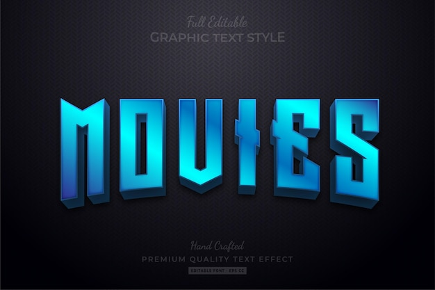 Blue movies editable text effect font style