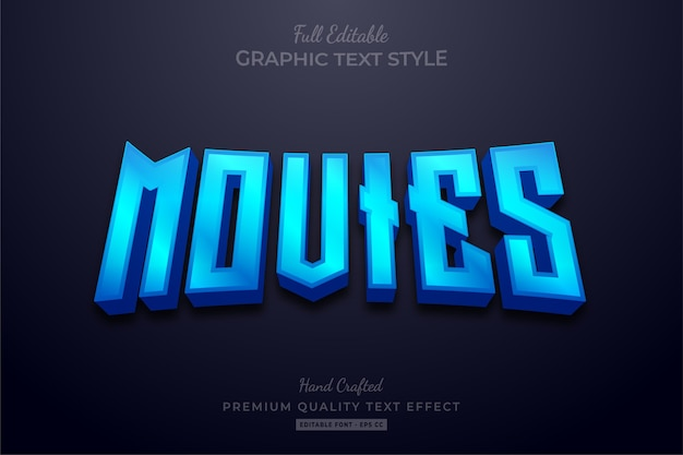 Blue movies editable text effect