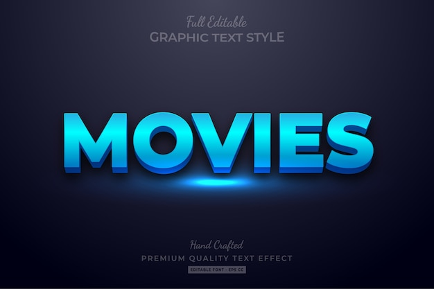 Blue movies editable text style effect