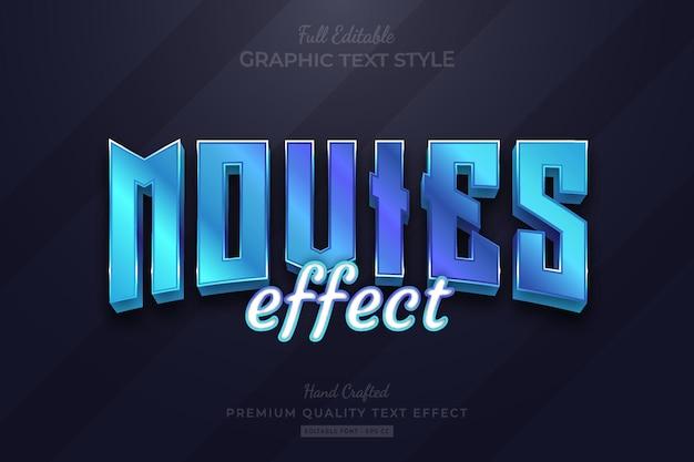 Blue movies title editable premium text effect
