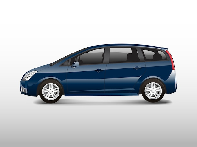 Blue mpv minivan automobile vector