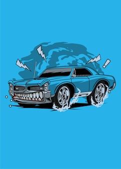 Синий мышц автомобиль