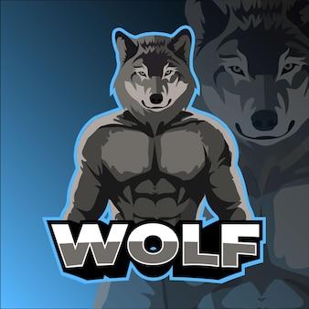 Blue muscle wolf e sport logo