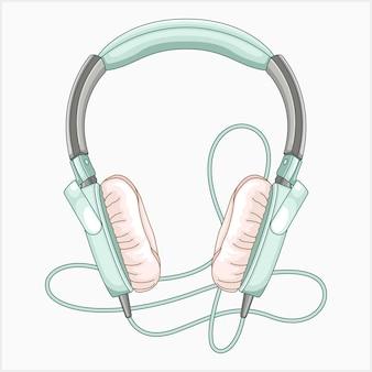 青い音楽とゲームのヘッドセットのピースのベクトル図
