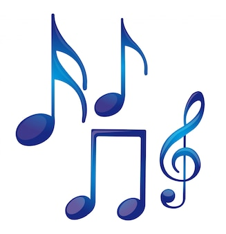 Blue music notes isolated over white background vector