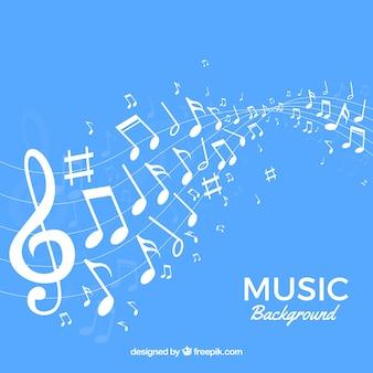 Синий фон музыкальных нот Бесплатные векторы