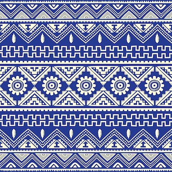 Blue native american ethnic pattern theme vector art
