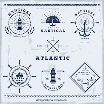 Blue nautical badges collection