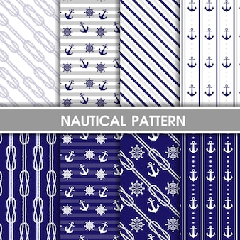 Blue nautical pattern collection