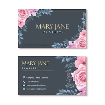 Blue navy florist business card with watercolor floral frame