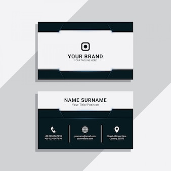 Blue navy geometric corporate business card template
