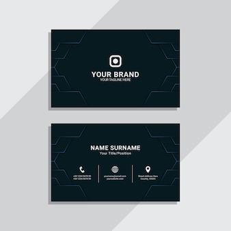 Blue navy geometric corporate business card template