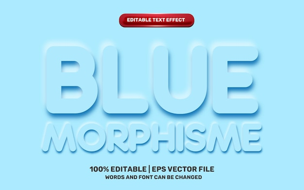 Blue neomorphic neomophisme emboss 3d simple modern future editable text effect