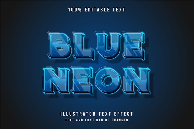 Blue neon 3d editable text effect. neon modern style effect