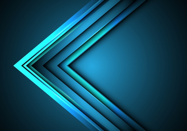 Blue neon arrow speed direction on blank space background.