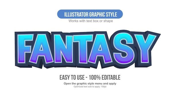 Blue neon cartoon 3d editable text effect