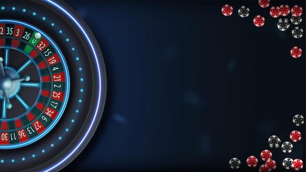Голубая неоновая рулетка казино на синем столе с покерными фишками, вид сверху. фон для вашего искусства