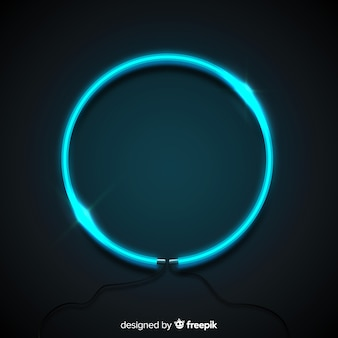 Blue neon circle