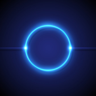 Blue neon circular lights on a dark background
