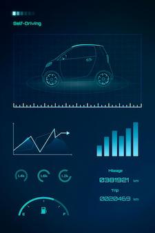 Синий неоновый компактный гибридный автомобиль
