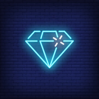Blue neon diamond bright sign element. gambling concept for night advertisement