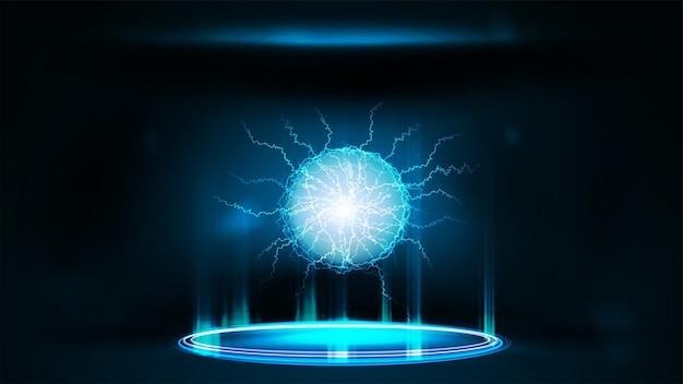 光沢のあるリングとエネルギーボールが入った青いネオンデジタルポータル
