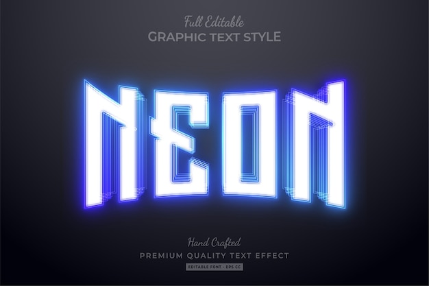 Blue neon editable text effect