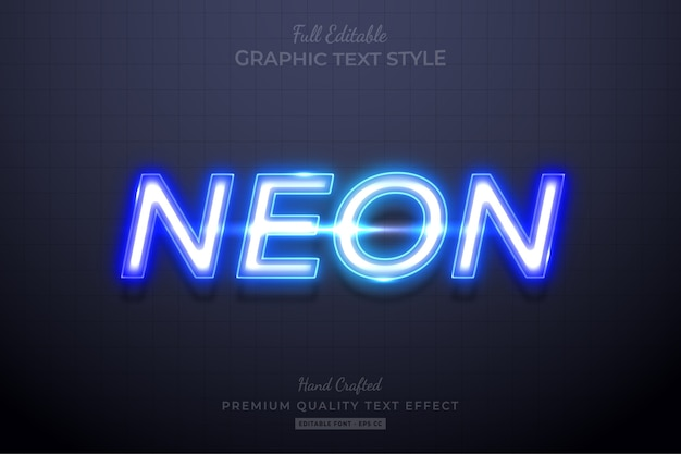 Blue neon editable text style effect