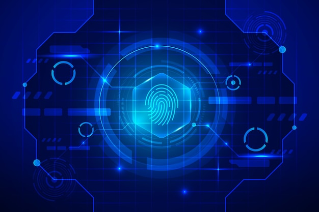 Blue neon fingerprint background