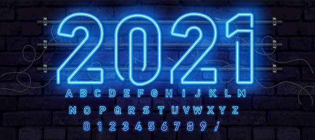 青いネオンフォント、完全なアルファベットと数字。輝くアルファベット、電気スタンド、レンガの壁の背景、電気abc。