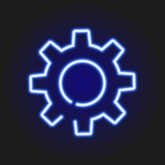 Blue neon glowing silhouette of gears, vector illustration