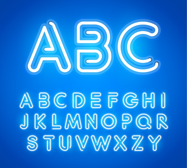 Blue neon letters set. bright glowing font.