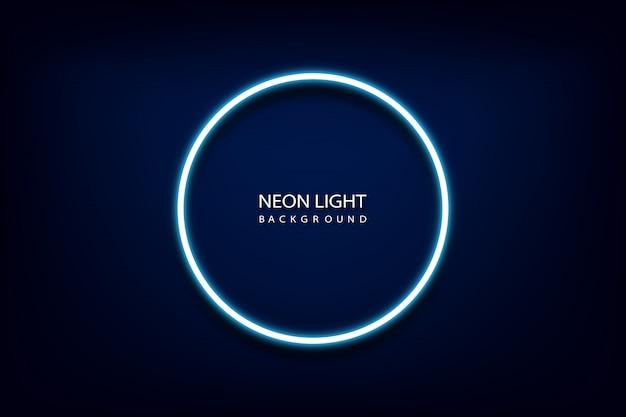 Blue neon light circle frame background.