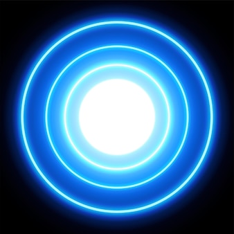 블루 네온 불빛 원, 추상적 인 배경, eps10 형식의 벡터 일러스트 레이 션