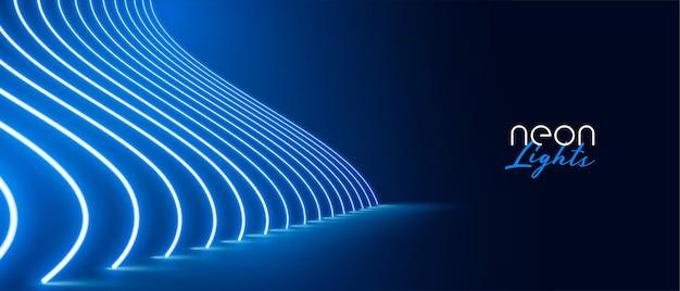 블루 네온 조명 효과 바닥 통로