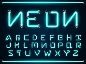 Blue Neon Light Glowing Fonts Set A Z Alphabet Text Symbols